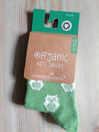 Calcetín infantil búho verde