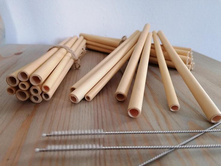 Pack 10 cañitas de bambú