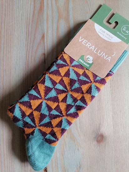 Calcetines triángulos Naranja-azul-morado