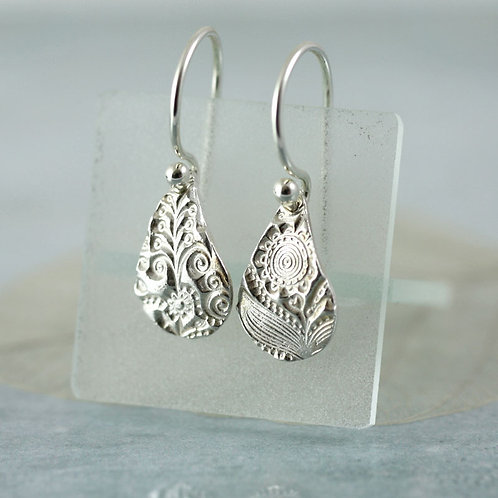 Small fine silver earring drops with flower pattern