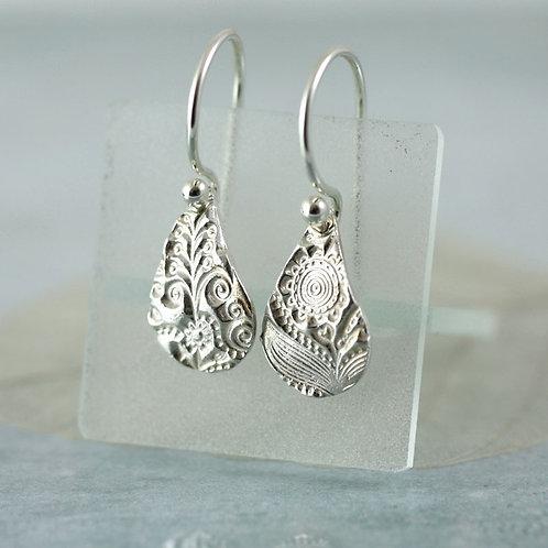 Small fine silver earring drops with flower pattern