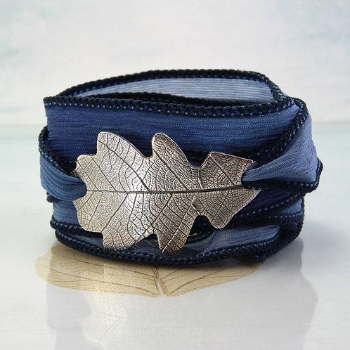Silver Oak Leaf Bracelet Falling Leaves