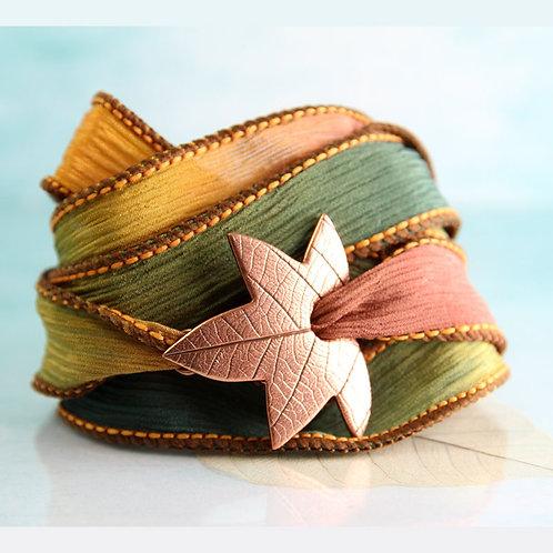Copper Maple Leaf Bracelet Silk Ribbon Wrap