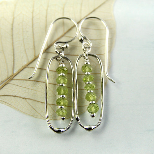 Silver Frame Peridot Beads Earrings
