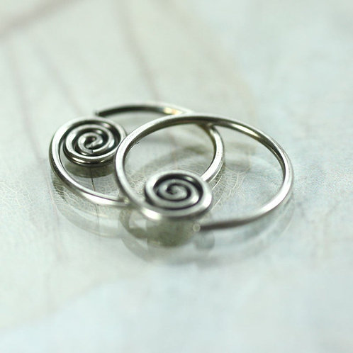 Silver Sleeper Hoops with Sideways Spiral