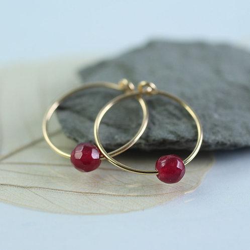 Slim Gold Hoop earrings with Plum Jade Beads