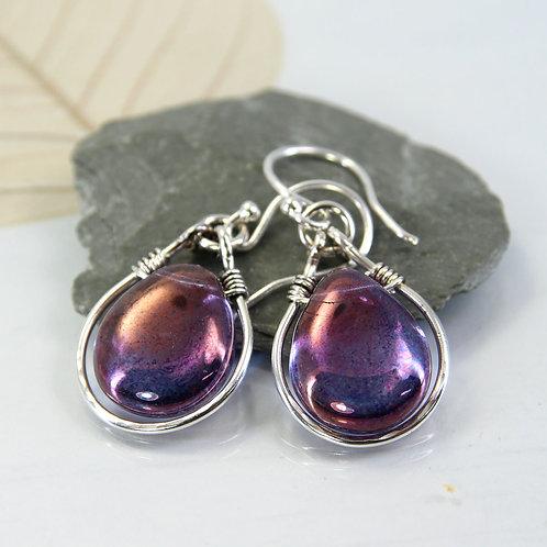 Silver Framed Purple Glass Drop Earrings