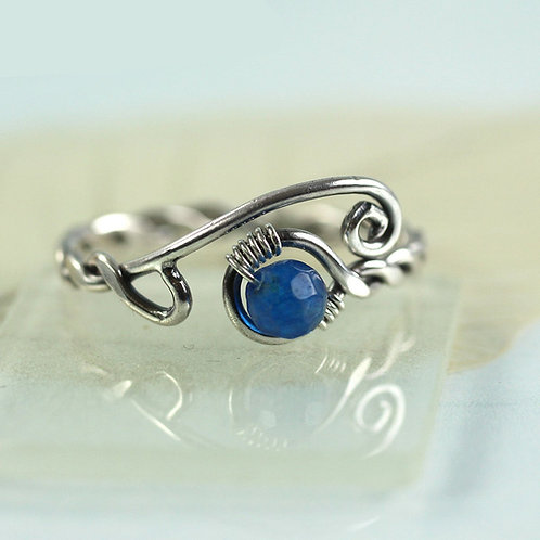 Sterling Silver Twist Ring with Blue Jade Bead