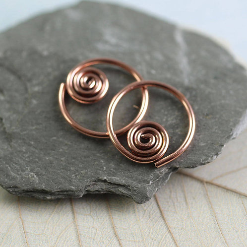 Copper Sleeper Hoops Earrings with Spiral
