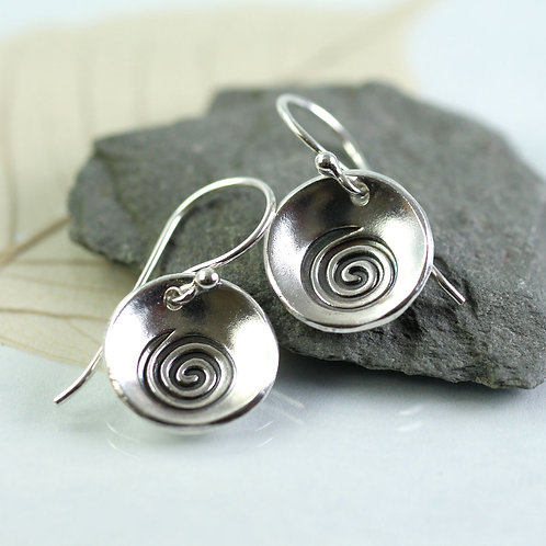 Silver Cup Earrings with Spiral Design
