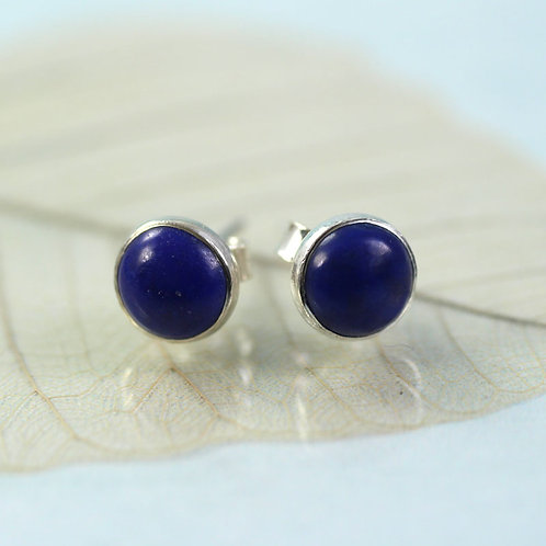 Silver Lapis Lazuli Stud Earrings
