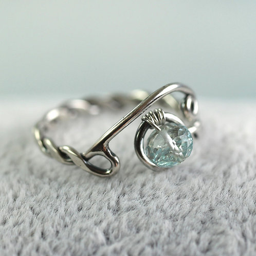 Silver Adjustable Twist Ring with Aquamarine