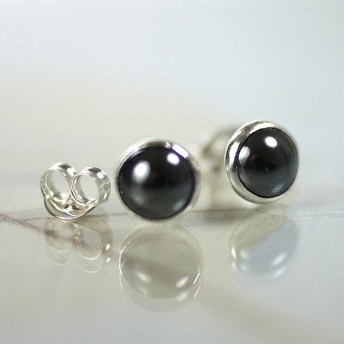 Haematite Silver Studs - Classic Earrings