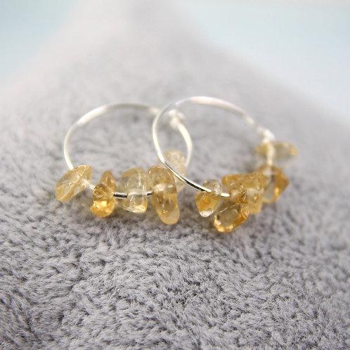 Silver Gem Hoops - Citrine Earrings