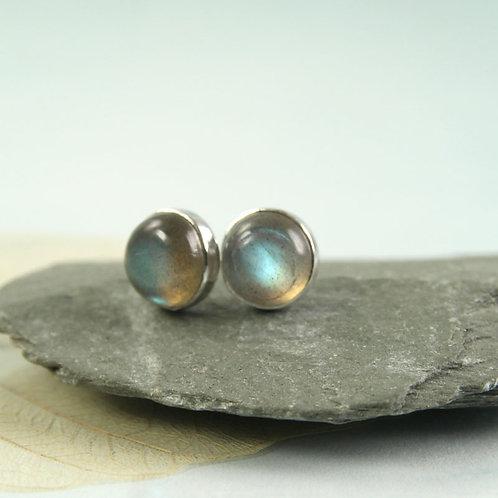 Labradorite Earrings silver Gem Studs