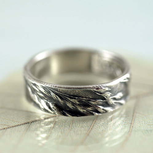 Silver Ring with Wild Grass Impression