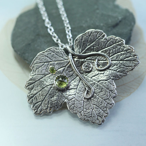 Leaf Pendant with Peridot and CZ sparkles