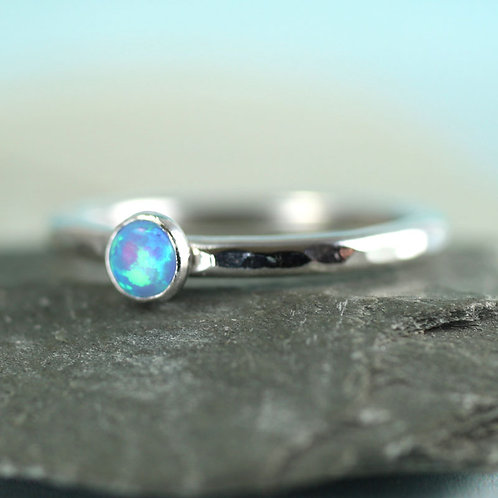 Silver Stacking Ring with Blue Synthetic Opal
