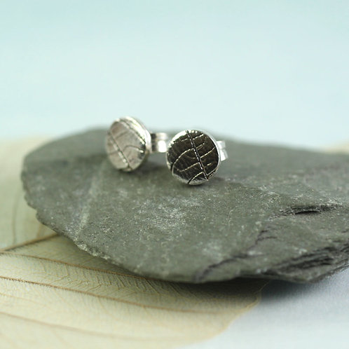 Silver Nature Studs with Leaf Texture 6 or 8 mm