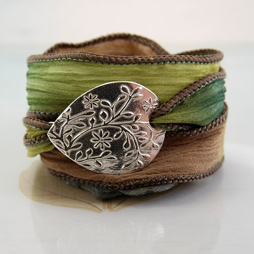Flower Silk Wrap Bracelet Silver Nature jewelry
