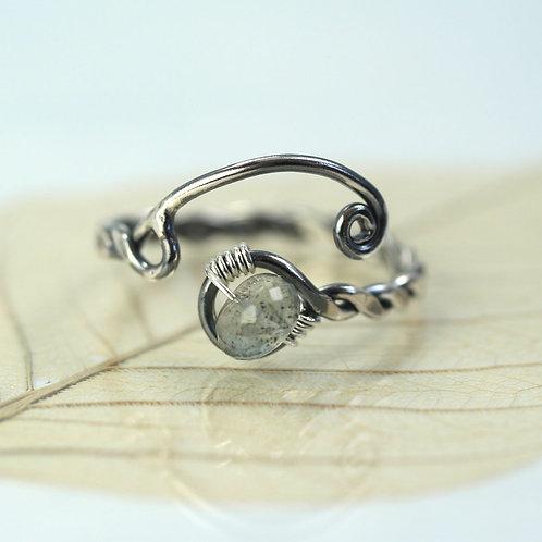 Silver Twist Ring with Moss Aquamarine
