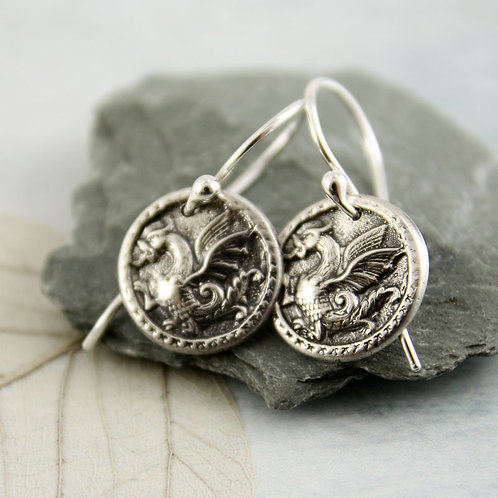 Dragon Amulet Silver Earring Charms