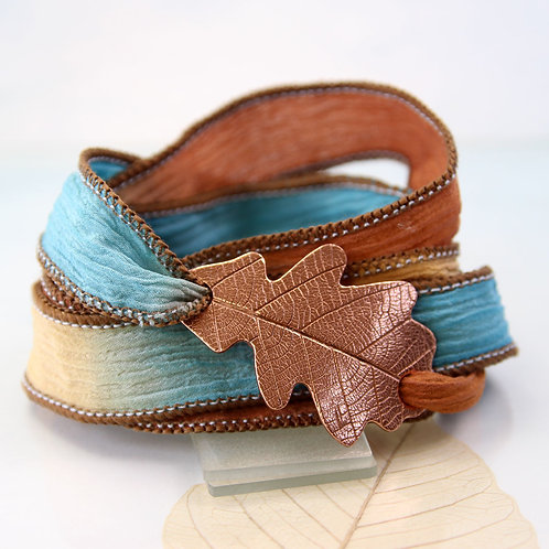 Copper Oak Leaf Bracelet  Silk Wrap Autumn Leaf