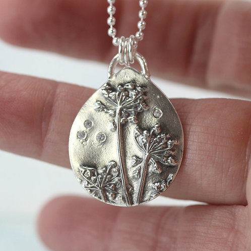 Silver Dandelion Necklace with tiny CZs