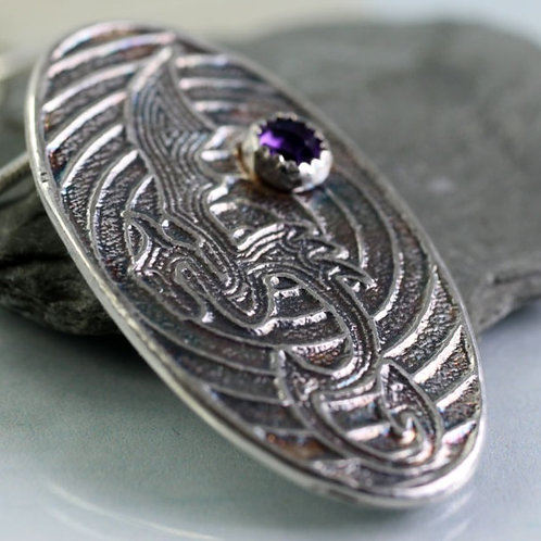Silver Dragon Necklace Oval Pendant with Amethyst