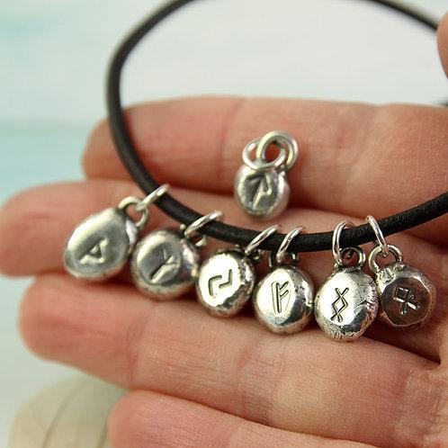 Rune Pendant Small Silver Nugget