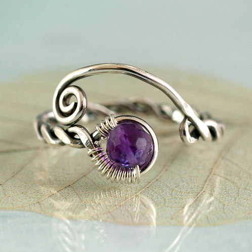 Silver Viking Ring with Amethyst Adjustable