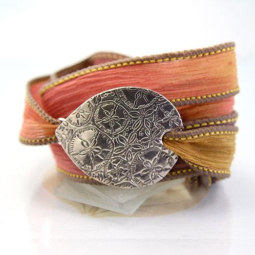 Silk Wrap Bracelet with Silver Sand Dollar Pattern