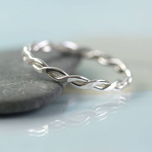 Twisted Silver Ring 1 mm Wire