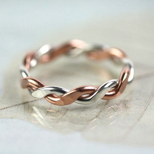 Chunky Silver & Copper Twist Ring - Rope Ring