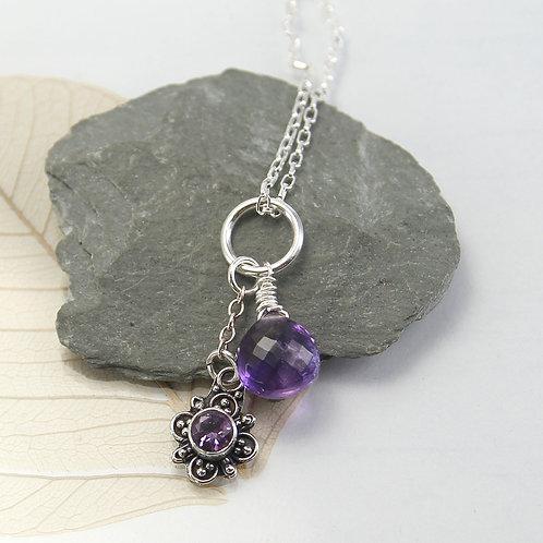 Cute little Amethyst charm necklace