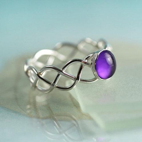 Silver Amethyst Ring Braid Ring With Purple Gem