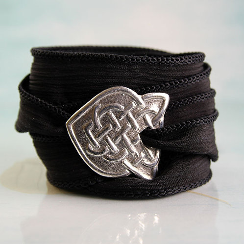 Celtic Silver Bracelet with Braid Pattern on Silk Ribbon Wrap