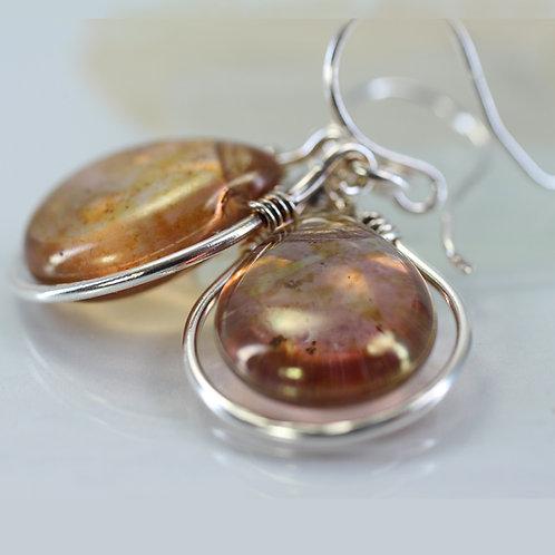 Silver Framed Warm Orange Glass Drop Earrings