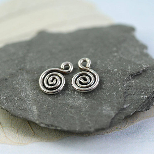 Silver Spiral Dangles Tiny Additions to Silver Hoops
