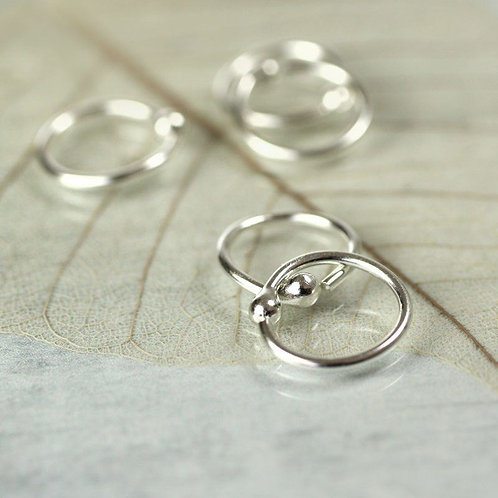 Silver Hoop Earrings 9 mm Sterling Silver