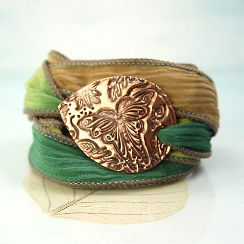 Wrap Bracelet With Copper Butterfly Plaque