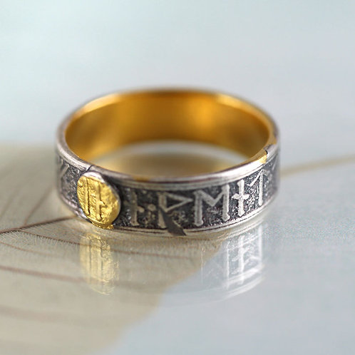 Silver Rune Ring with Gold Details