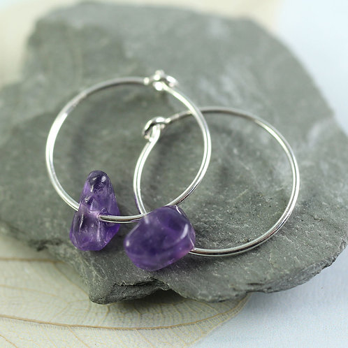 Silver Hoops with Amethyst Nuggets