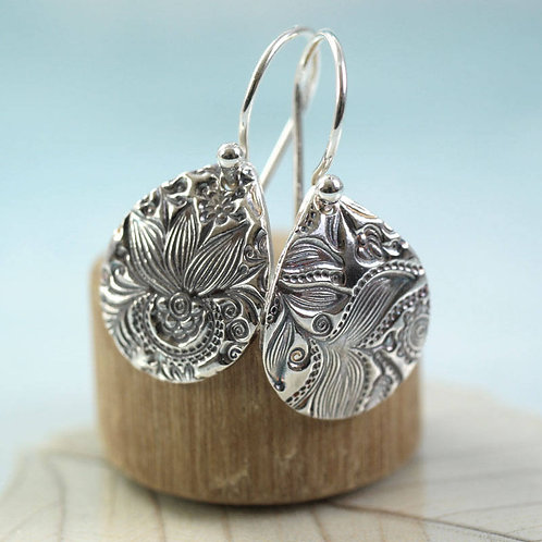 Silver Flower Earrings Flower Pattern
