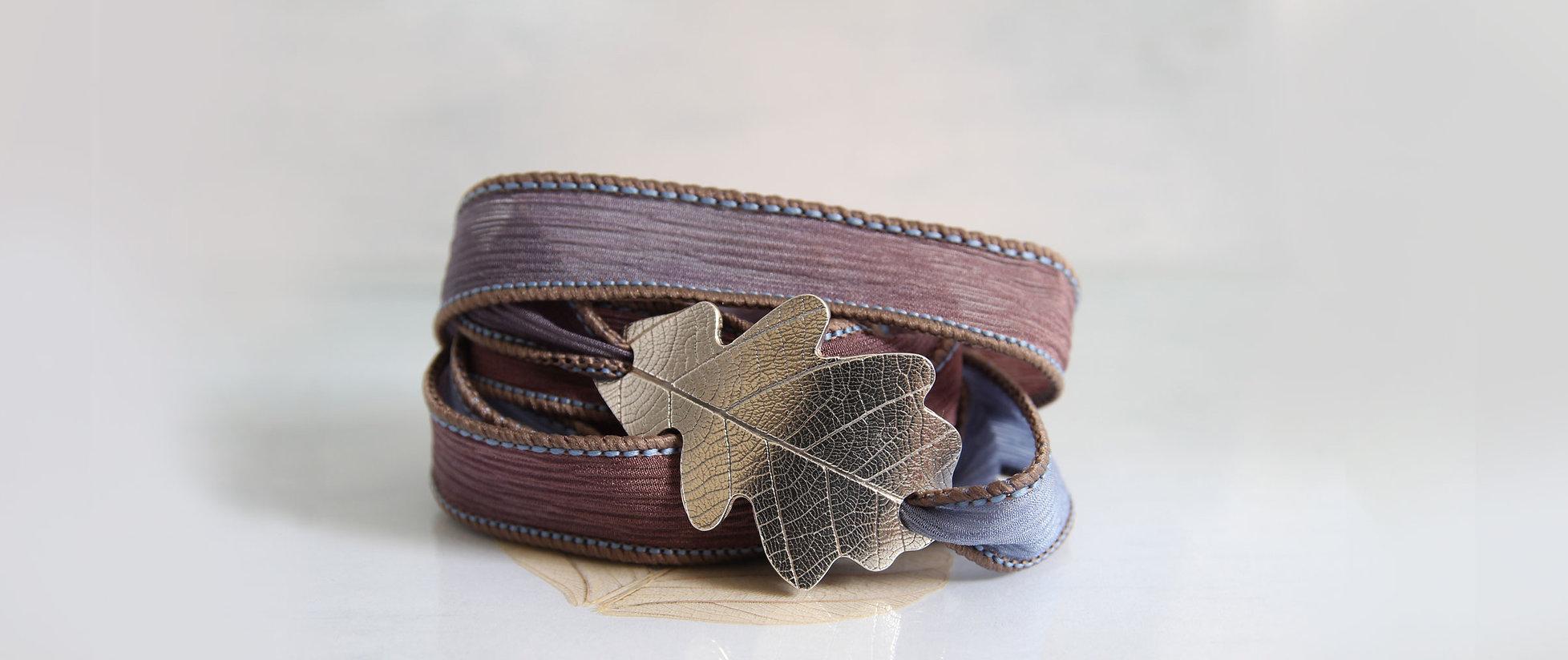 silver leaf bracelet handmade