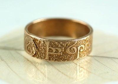 bronze ring with Elven script