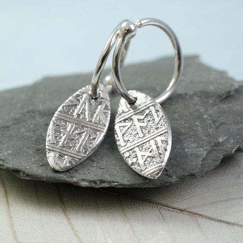 Silver Rune Hoops Leaf Drop Sterling Silver