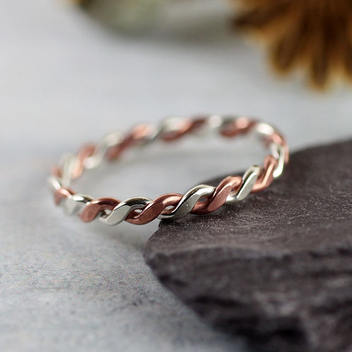 Silver Copper Twist Ring  Mixed Metal  Rope Ring