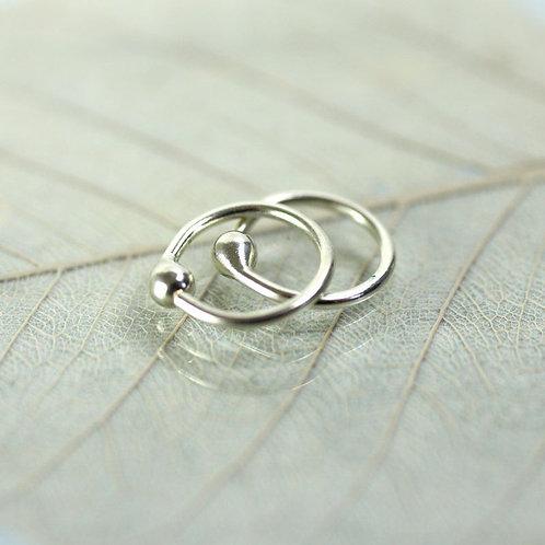 Silver Hoop Earrings 8 mm Sleeper hoops