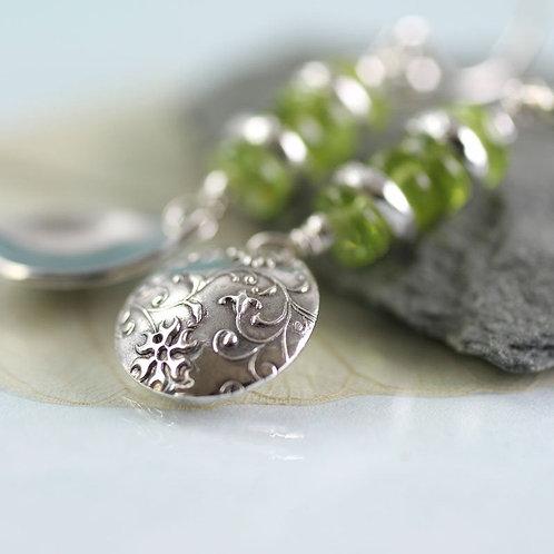 Silver Earring Drops with Peridot Gemstones